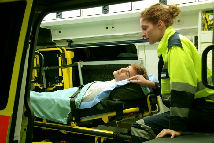 EMT in an ambulance after likely pediatric suction scenario